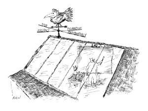 Weather vane on artist's studio points in Abstract, Pop, Figurative, and P… - New Yorker Cartoon by Edward Koren