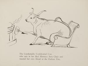 Cow in Armchair Toasting Bread On Open Fire From a Collection Of Poems and Songs by Edward Lear by Edward Lear