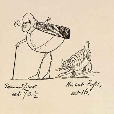 Edward Lear Aged 73 and a Half and His Cat Foss, Aged 16 by Edward Lear