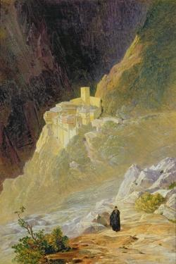 Mount Athos, the Monastery of St. Paul, 1858 by Edward Lear