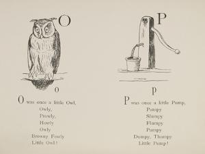 Owl and Pump Illustrations and Verses From Nonsense Alphabets Drawn and Written by Edward Lear. by Edward Lear
