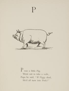 Pig Illustrations and Verse From Nonsense Alphabets by Edward Lear. by Edward Lear