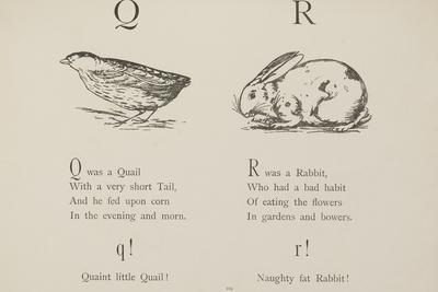 Quail and Rabbit Illustrations and Verse From Nonsense Alphabets by Edward Lear.