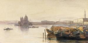 S. Maria della Salute & the Doge's Palace from across the Bacino at Sunset by Edward Lear