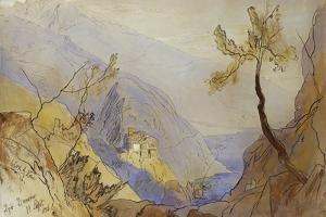 The Monastery of St. Dionysius, Mount Athos by Edward Lear