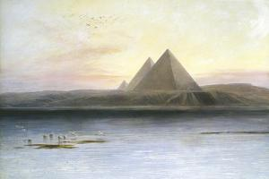 The Pyramids at Gizeh, 19th Century by Edward Lear