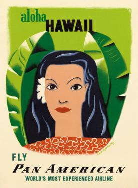 Aloha Hawaii, Fly Pan American Airways, c.1953 by Edward McKnight Kauffer