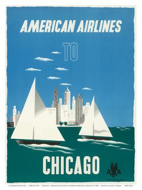 Chicago, Illinois USA - The Windy City, Sailboats, Lake Michigan - American Airlines by Edward McKnight Kauffer