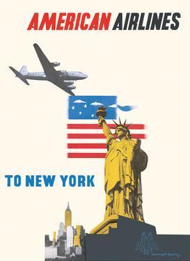 New York - American Airlines - Statue of Liberty by Edward McKnight Kauffer