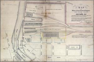 Map of Illinois Central Railroad Company's Depot Grounds and Buildings in Chicago, 1855 by Edward Mendel