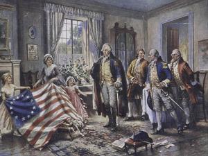Betsy Ross Shows Washington the Stars and Stripes by Edward Moran