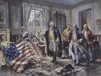 Betsy Ross Shows Washington the Stars and Stripes