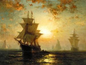 Segelschiffe Bei Sonnenuntergang by Edward Moran
