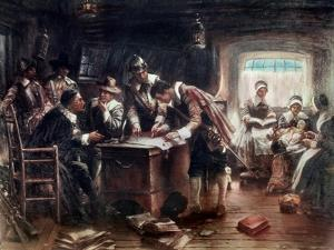 Signing of the Mayflower Compact by Edward Moran
