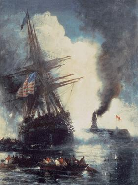 The Merrimac Sinks the Cumberland by Edward Moran