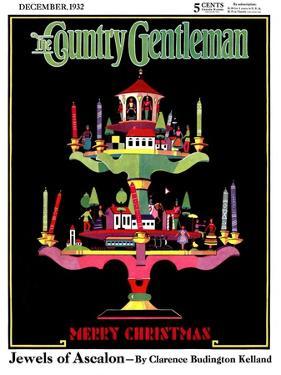 """Christmas Candelabra,"" Country Gentleman Cover, December 1, 1932 by Edward O. Kraske"