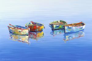 4 Boats Blue by Edward Park