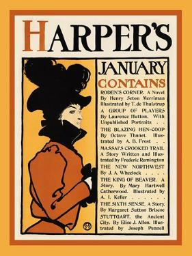 Harper's January - Roden's Corner by Edward Penfield