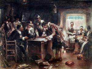 The Signing of the Mayflower Compact, c.1900 by Edward Percy Moran