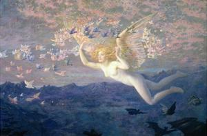 On the Wings of the Morning, 1905 (W/C Heightened with Bodycolour and Gold Paint) by Edward Robert Hughes
