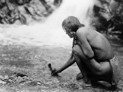 An Offering at the Waterfall, Nambe Indian by Edward S. Curtis