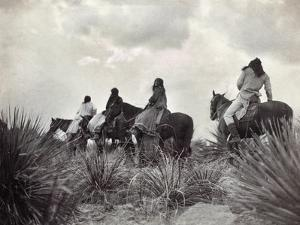 Apache on Horseback, c1906 by Edward S. Curtis
