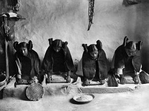 Hopi Grinding Grain, C1906 by Edward S^ Curtis