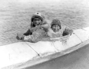 Two Children on the Water by Edward S^ Curtis