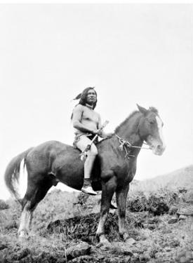 Young Yakima on Horseback by Edward S^ Curtis