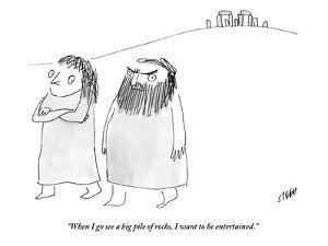 """When I go see a big pile of rocks, I want to be entertained."" - New Yorker Cartoon by Edward Steed"