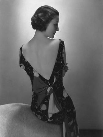 Vogue - February 1934 - Model in Printed Dress with Low-Cut Back by Edward Steichen