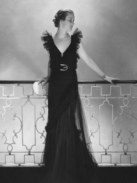 Vogue - July 1934 - Ruffled Black Dress by Lelong by Edward Steichen