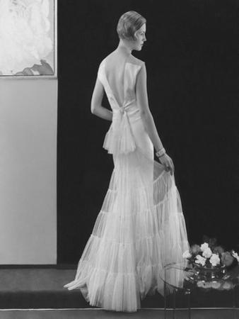 Vogue - March 1934 - White Gown with Deep V-Back by Edward Steichen