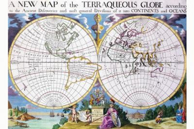 Stereographic Projection of the World With Latitude And Longitudinal Lines