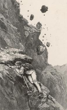 Whymper in Danger from a Rock- Fall on the Matterhorn by Edward Whymper