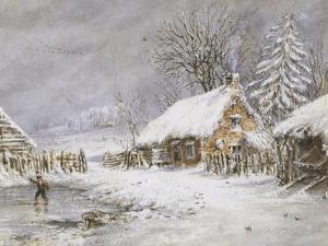 Cottage in Winter by Edward William Cooke