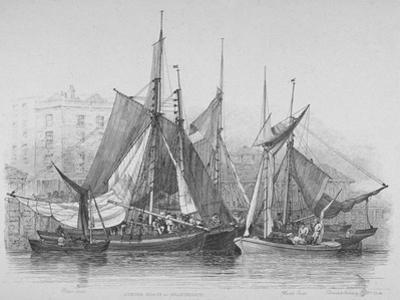 View of Billingsgate Wharf with Oyster Boats, City of London, 1830 by Edward William Cooke