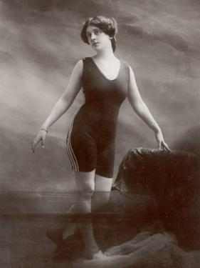 "Edwardian Bathing Beauty Miss M. Odell Wears a ""V""-Neck One-Piece Bathing Costume"