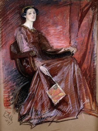Seated Woman Wearing Elizabethan Headdress, 1897