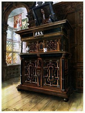 A Cabinet of Oak and Walnut, 1910 by Edwin Foley