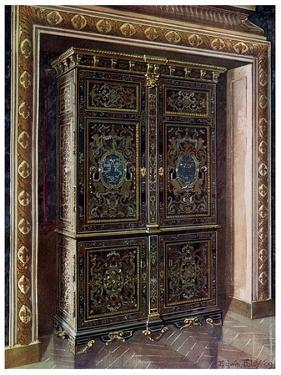 Armoire in Ebony with Inlays of Engraved Brass and White Metal, 1910 by Edwin Foley