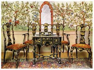 Black Lacquer Settee, Chairs and Table and Red Lacquer Mirror, 1910 by Edwin Foley