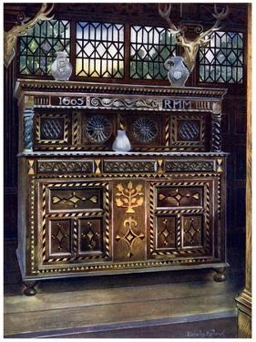 Carved and Inlaid Oak Court Cupboard, 1910 by Edwin Foley