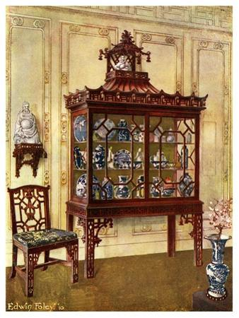 Carved China Case in Chippendale's Chinese Manner, 1911-1912 by Edwin Foley