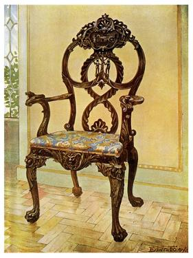 Carved Early Chippendale Chairman's Chair, 1911-1912 by Edwin Foley