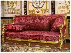 Carved Gilt Couch Covered in Rose Brocade De Lyon, 1911-1912 by Edwin Foley