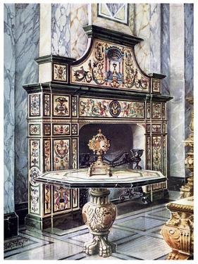 Chimneypiece and Table in Coloured Florentine Mosaic, 1910 by Edwin Foley