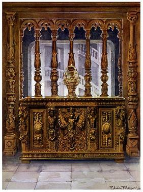 Henry II Carved Coffer or Bahut and Oak Screen of the Same French Period, 1910 by Edwin Foley