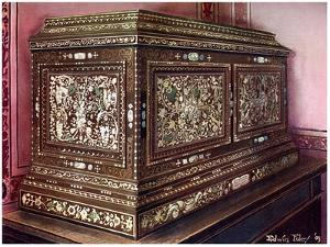 Inlaid Jewel Casket of Walnut Wood with Panelled Front, Sides and Top, 1910 by Edwin Foley