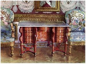 Kneehole Writing Table and Gilt Fauteuils, 1910 by Edwin Foley